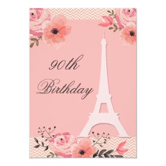 90.o Torre Eiffel floral elegante de París del Invitación 12,7 X 17,8 Cm