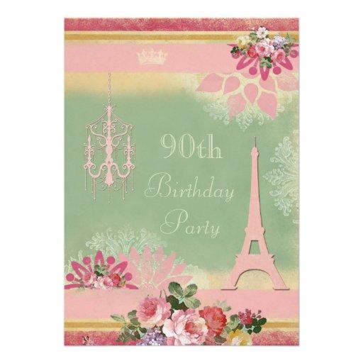 90.o Torre Eiffel y lámpara rosadas del cumpleaños Invitacion Personalizada