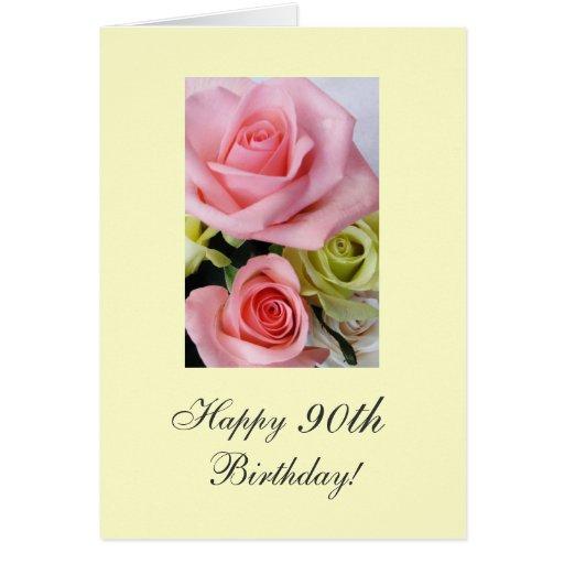 90.os rosas felices del cumpleaños tarjeta