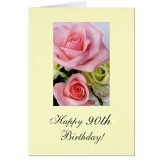 90.os rosas felices del cumpleaños tarjeta de felicitación