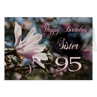 95.o cumpleaños de la hermana con la magnolia tarjeta de felicitación