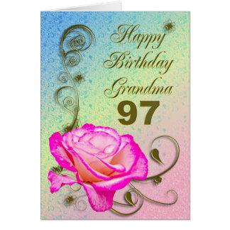97.a tarjeta de cumpleaños color de rosa elegante