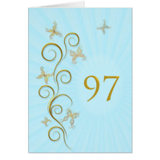 97.o Cumpleaños con las mariposas de oro Tarjeta De Felicitación