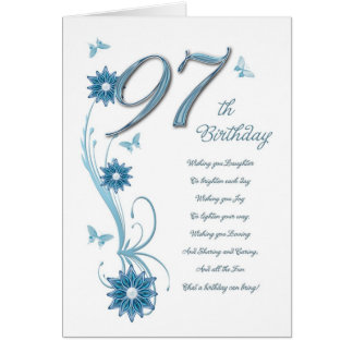 97.o cumpleaños en trullo con las flores y la tarjeta de felicitación