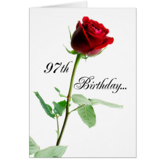 97.o Rosa rojo del cumpleaños Tarjeta De Felicitación