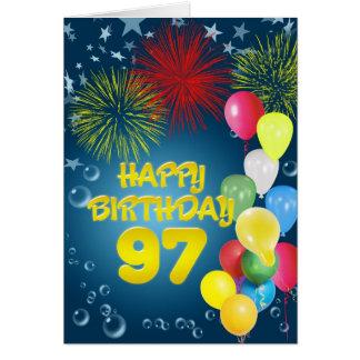 97.o Tarjeta de cumpleaños con los fuegos