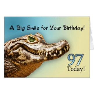 97.o Tarjeta de cumpleaños con un cocodrilo