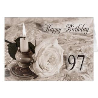 97.o Tarjeta de cumpleaños con un color de rosa