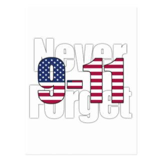 9-11 nunca olvide postal