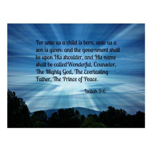 9:6 de Isaías para a nosotros un niño nace… Tarjetas Postales