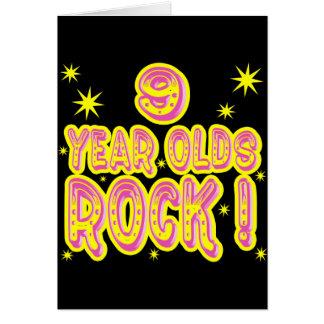 ¡9 años de la roca! Tarjeta de felicitación (rosad