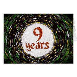 9 años tarjeta de cumpleaños/del aniversario de la
