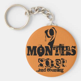 9 meses de sobriedad llavero redondo tipo chapa