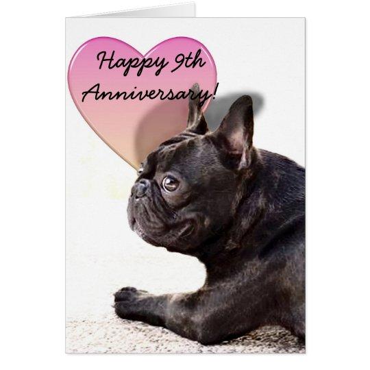 9na tarjeta de felicitación feliz del dogo francés