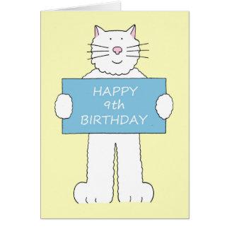 9no cumpleaños feliz del gato blanco mullido tarjeta