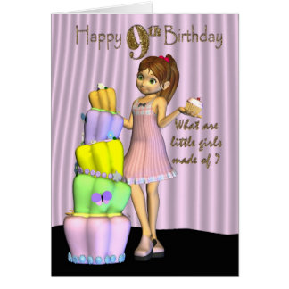 9no Cumpleaños, niña de la tarjeta del feliz cumpl