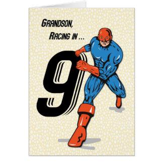 9no super héroe del cumpleaños del nieto tarjeta de felicitación