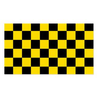 A cuadros - amarillo negro y de oro tarjetas de visita