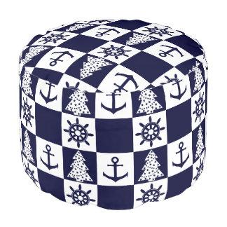 A cuadros blanco azul náutico pouf