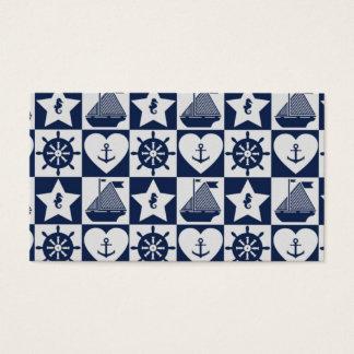 A cuadros blanco de los azules marinos náuticos tarjeta de visita