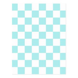 A cuadros - blanco y azul claro postal
