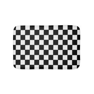 A cuadros blanco y negro - estera de baño alfombrilla de baño
