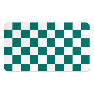 A cuadros - blanco y verde del pino plantillas de tarjeta de negocio