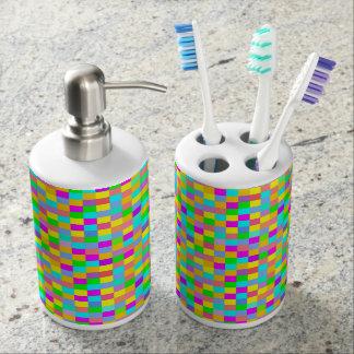 A cuadros colorido de la diversión conjunto de baño