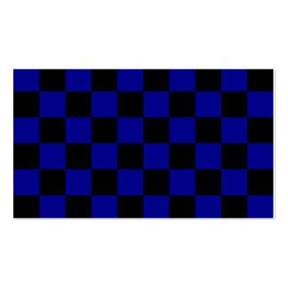 A cuadros - negro y azul marino tarjetas de visita