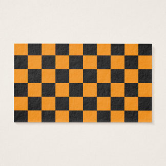 A cuadros - negro y mandarina tarjeta de negocios