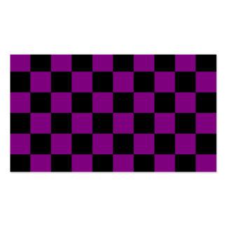 A cuadros - negro y púrpura plantilla de tarjeta de negocio
