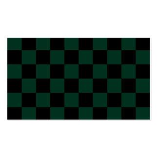 A cuadros - negro y verde oscuro tarjetas de visita