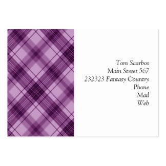 a cuadros, púrpura tarjetas de visita grandes
