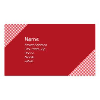 A cuadros rojo tarjetas de visita