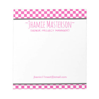 A cuadros rosado bloc de notas