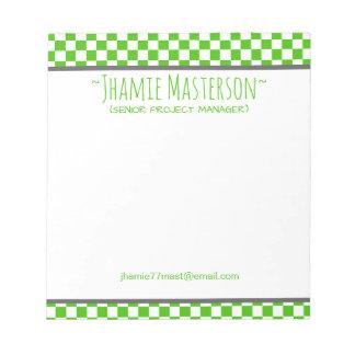 A cuadros verde bloc de notas