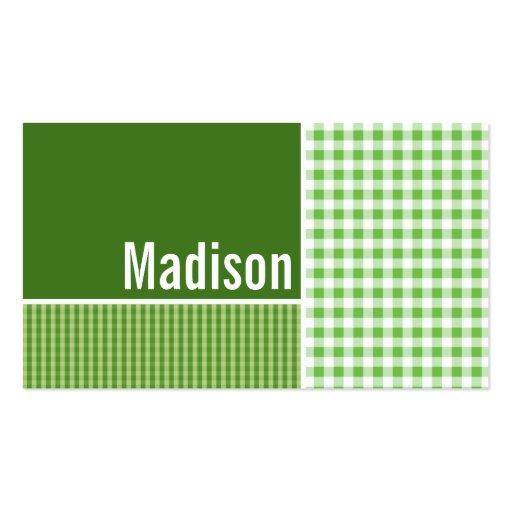 A cuadros verde; Guinga Plantillas De Tarjetas De Visita
