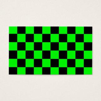 A cuadros - verde negro y eléctrico tarjeta de negocios