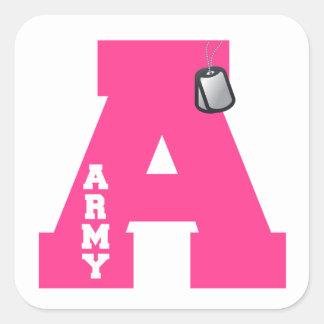 A está para el ejército pegatina cuadrada