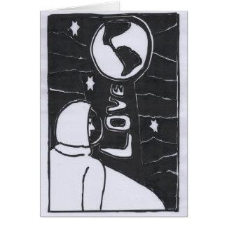 A la luna y a la parte posterior tarjeta de felicitación
