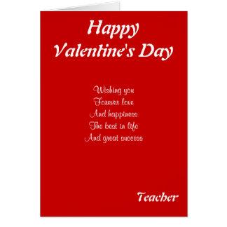 A mi profesor el el día de San Valentín Tarjeta De Felicitación