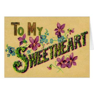 A mi saludo del vintage del amor tarjeta de felicitación