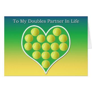 A mi socio de los dobles en tarjeta del tenis de