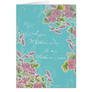 a mi suegra, el día de madre feliz, flores tarjeta de felicitación