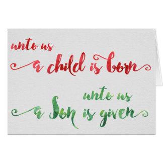 A nosotros un niño es tarjeta de Navidad nacida