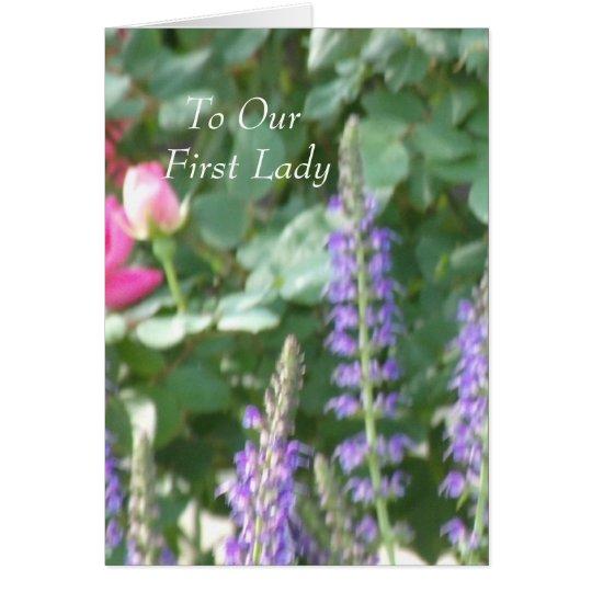 A nuestra primera señora tarjeta de felicitación