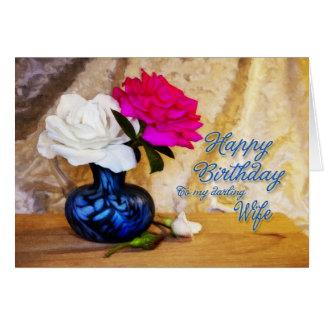 A una esposa, feliz cumpleaños con los rosas pinta felicitación