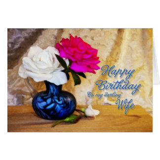 A una esposa, feliz cumpleaños con los rosas tarjeta de felicitación