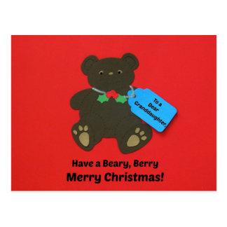 A una estimada nieta en el navidad tarjeta postal