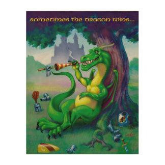 A veces los triunfos del dragón - verde impresión en madera